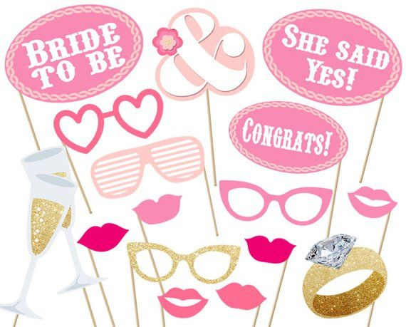 Bridal Party Photo Booth Props Printable Instant Download Print