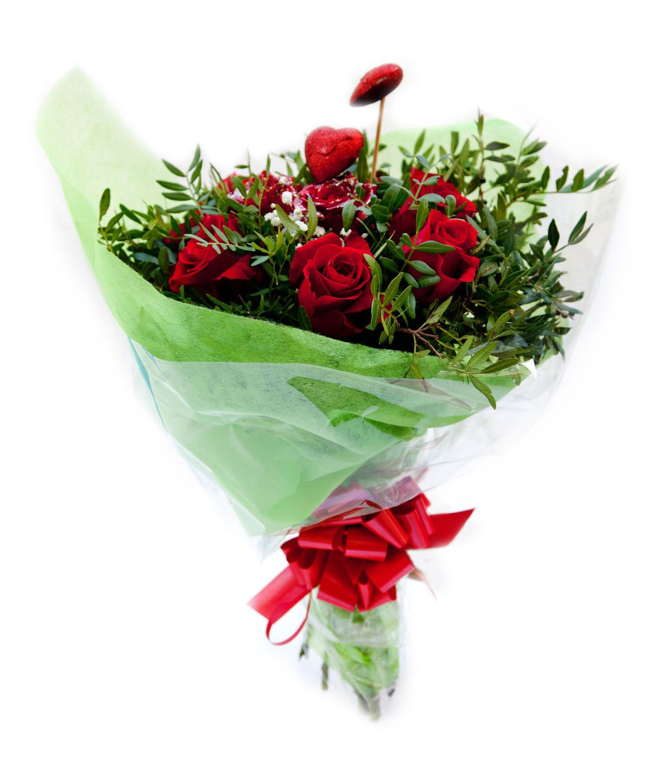 Anniversary Celebration. Bouquet of 6 premium freshly-cut red roses with fillers and wrapped in organza and cellophane.