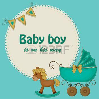 bebe: Baby shower tarjeta azul para los niños Vectores