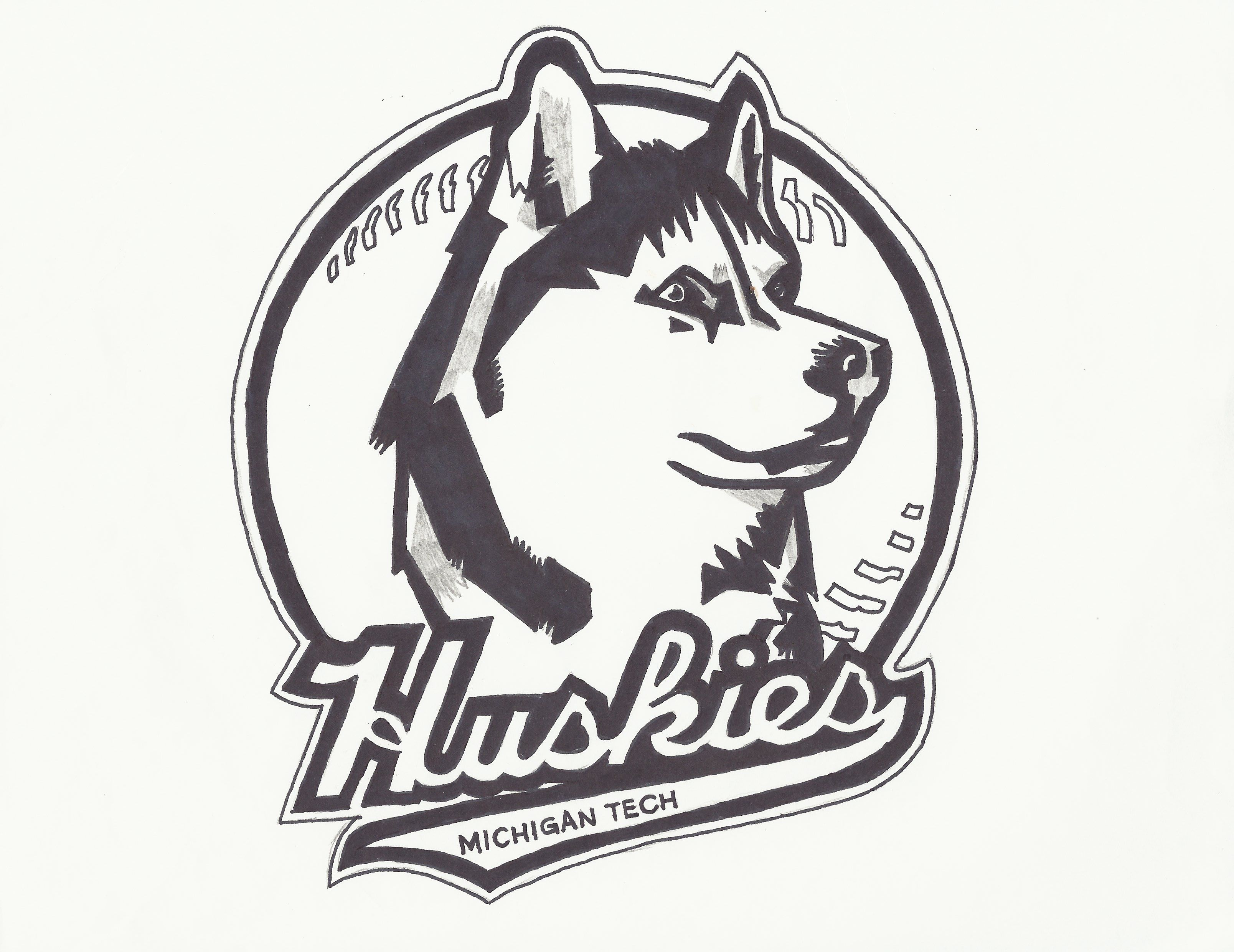 Michigan Tech Huskies Softball Logo Pre Color Michigan Tech Softball Logos Michigan