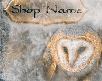 Etsy Shop Banner Set - Shop Banner, Etsy Banner, Shop Banner Set, Gold Blue Owl
