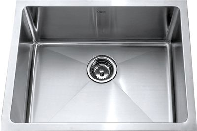 Kraus Khu101 23 23 Inch Undermount Single Bowl 16 Gauge Stainless Steel Kitchen Sink With Noisedefend Soundproofing Sink Single Bowl Kitchen Sink Stainless Kitchen