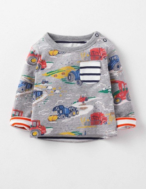 MINI Boden BABY BOYS Reversible Printed Fun Long Sleeve Tops RRP £20 BRAND NEW