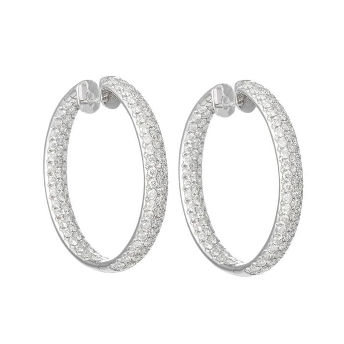 Goldiva 18k White Gold Diamond Encrusted Hoop Earrings Featured In Vente Privee