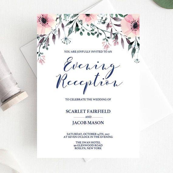 Wedding Reception Invitation Template Elegant Wedding Evening Moms