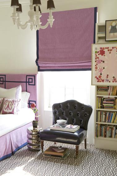 Amanda Nisbet Design S Rooms Pink Greek Key Headboard Roman Shade Chocolate Brown Velvet Border Geometric White Wool Rug