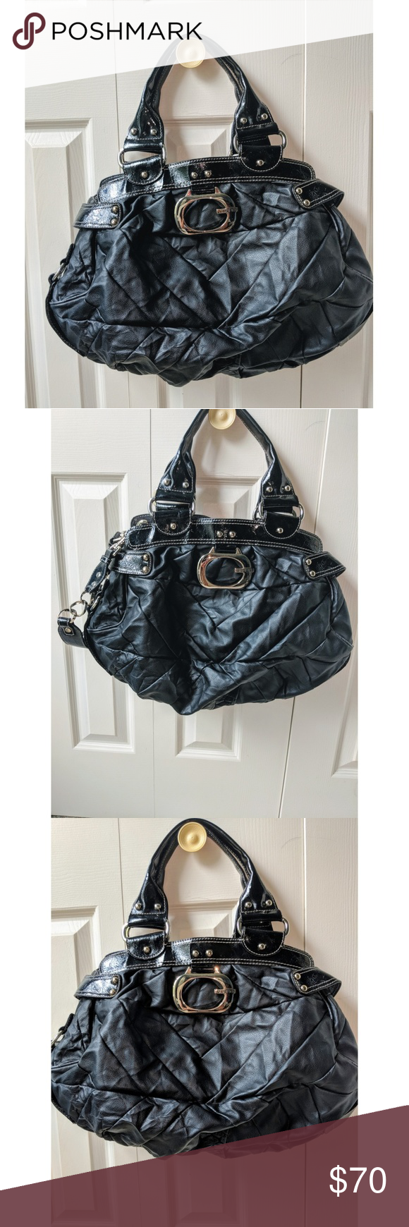 dbb64182c91 GREAT CONDITION Black with Silver Buckle Also comes with long strap  Multiple compartments inside 100% Real leather Guess Bags Totes