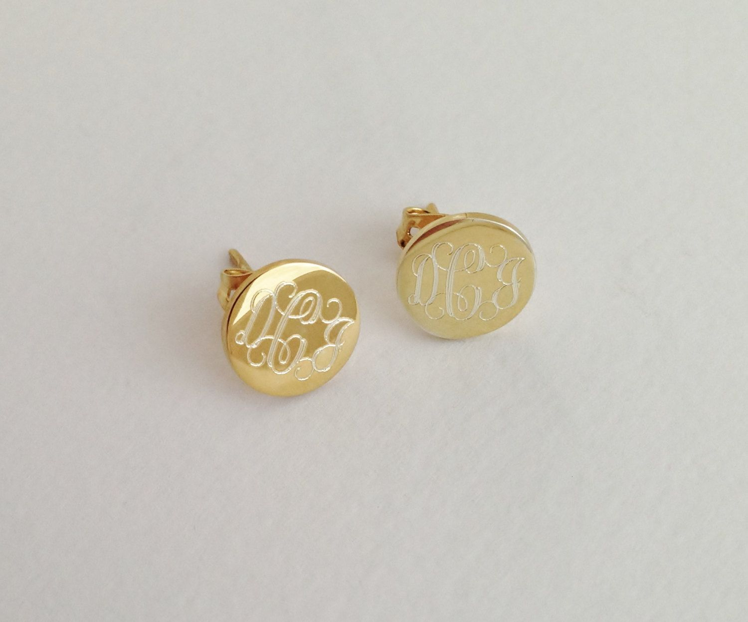 Gold Monogram Stud Earrings Personalized Jewelry For Valentines Day By Netexchange On Etsy