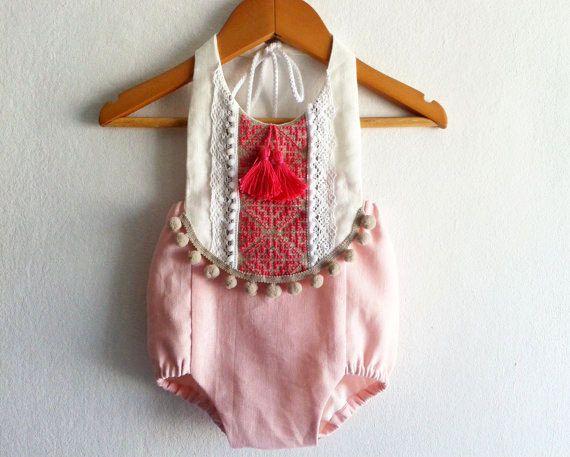 d445e0560 Pink/ Fuchsia Baby Girl Romper/ Linen Boho Chic Sunsuit/ Baby Clothes/ Pom