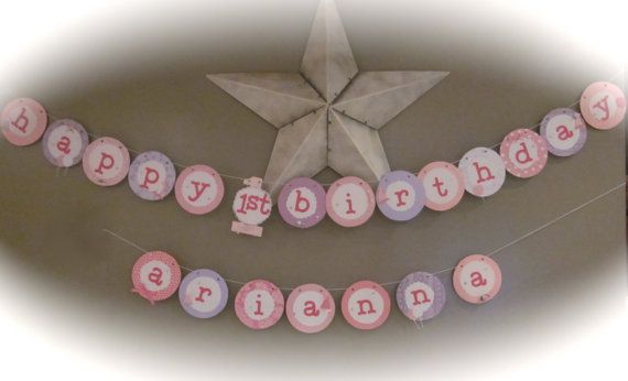 Happy first 1st Birthday Banner girl birthday by thisNthat1109, $23.50