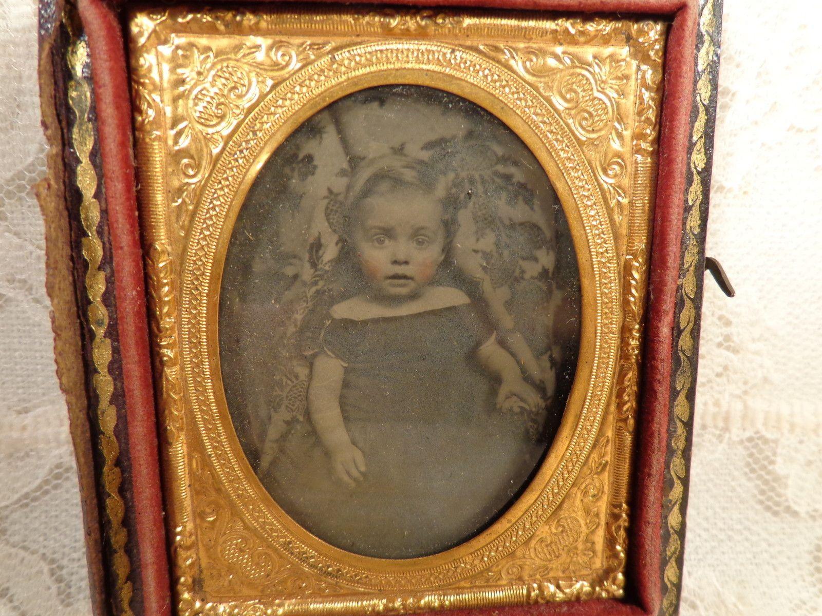 Victorian 1800s Framed Ambrotype Toddler Girl Big Blue Eyes Dress Gold Frame | eBay
