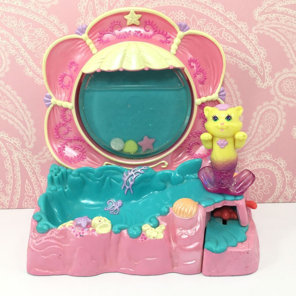 Vintage Kenner Littlest Pet Shop Shimmering Merpets Splash 'n Play Cat Mercat #5 #Kenner
