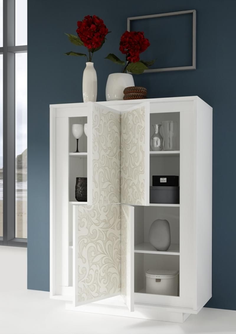 Charming Four Door Modern Cabinet In Matt White Lacquer With Serigraph Print Finish