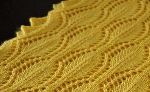 Вязание: ажурный узор для шарфа с рельефным краем
