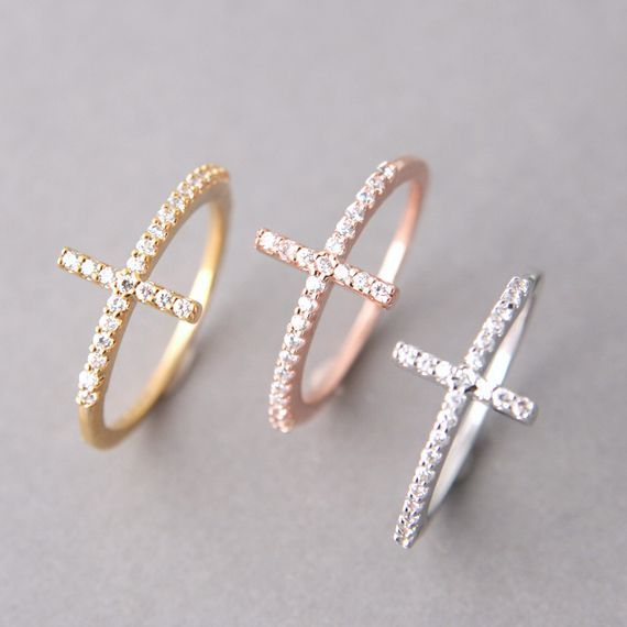 Rose Gold Cz Sideways Cross Ring Sterling Silver Religious Symbols