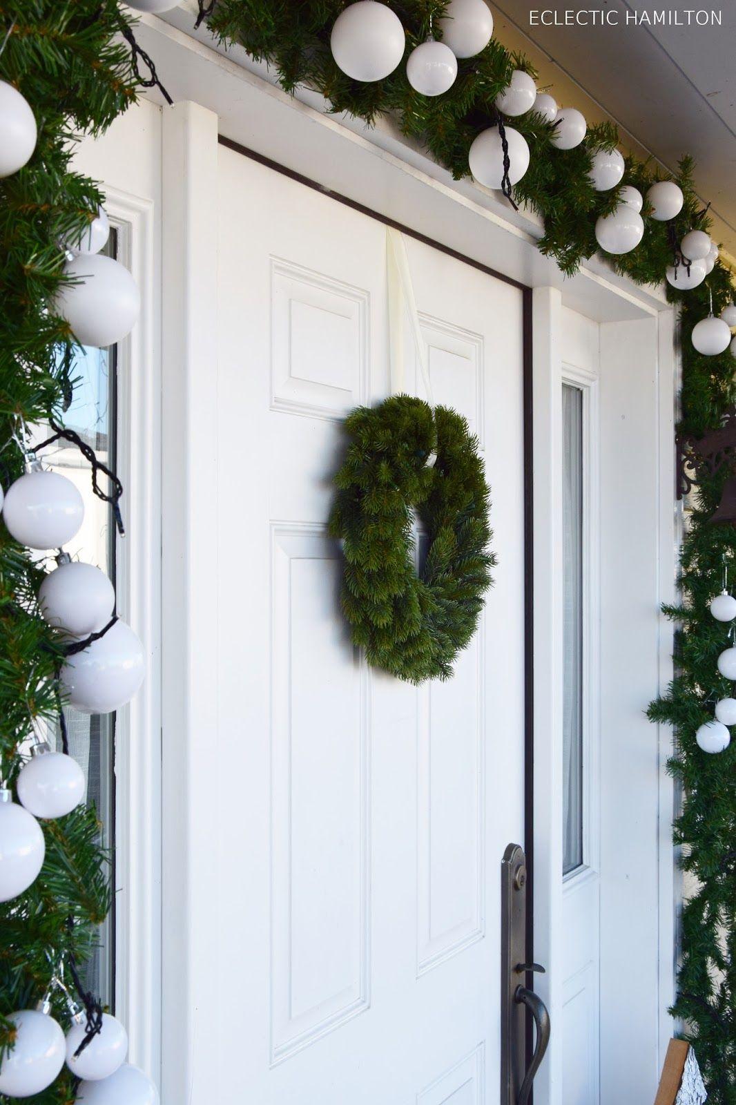 Haustür Deko Weihnachten Idee Mit Tannengirlande Und