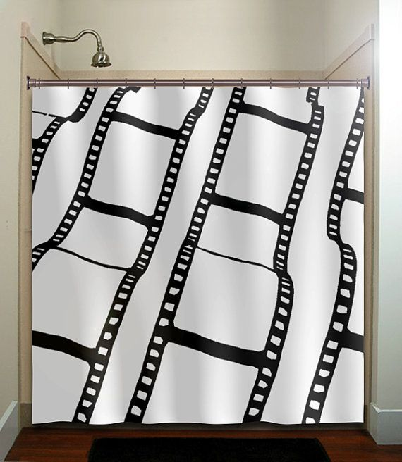 Negative Film Strip Movie Reel Shower Curtain Extra Long Fabric