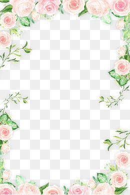 Leaves Flowers Pink Flowers Romantic Flowers Roses Hand Painted Flowers Flowers Border Small Fresh Flowers Fra Flower Border Png Flower Frame Png Flower Border