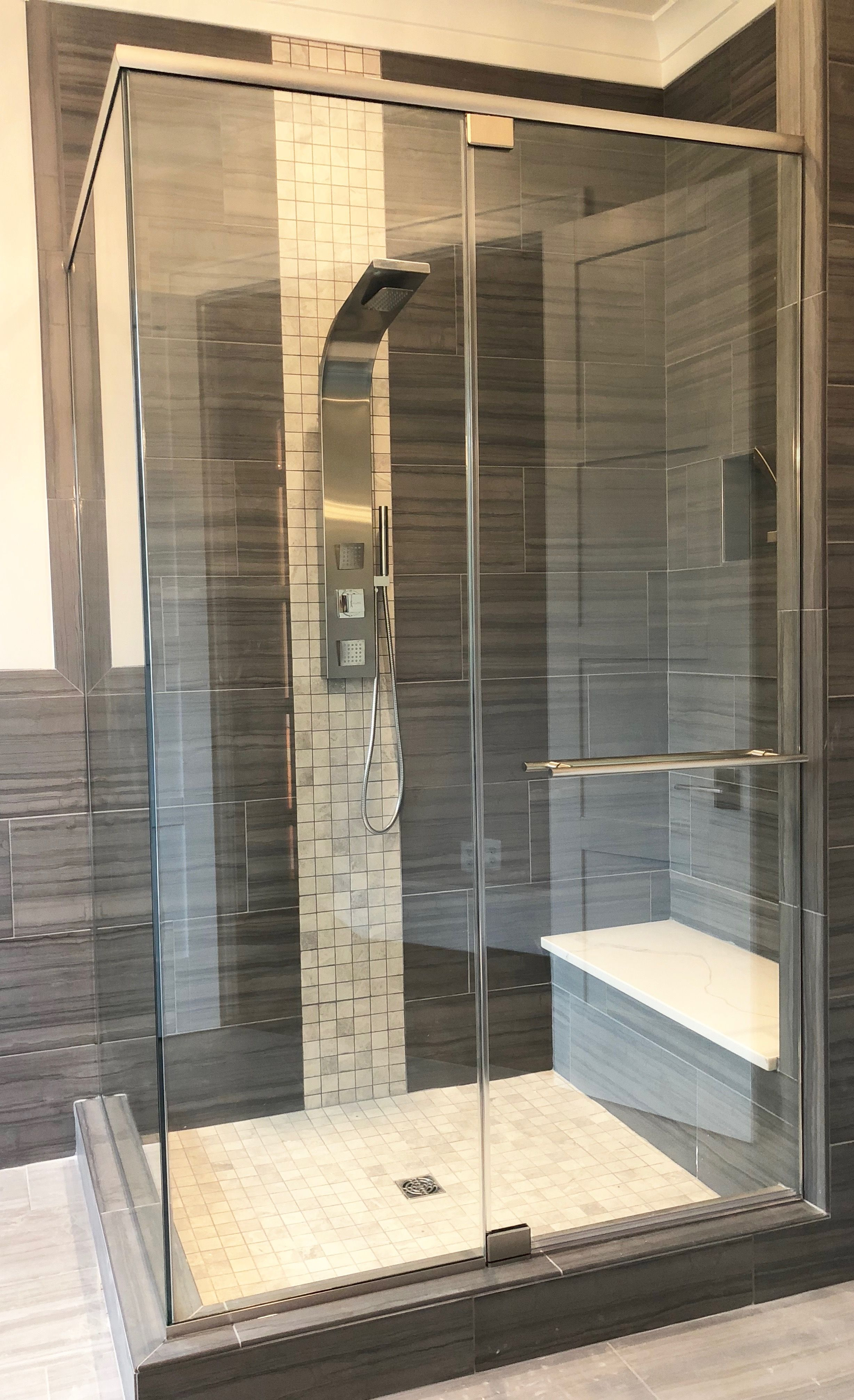 Modern Shower With Brushed Nickel Hardware In Clarksville Md By