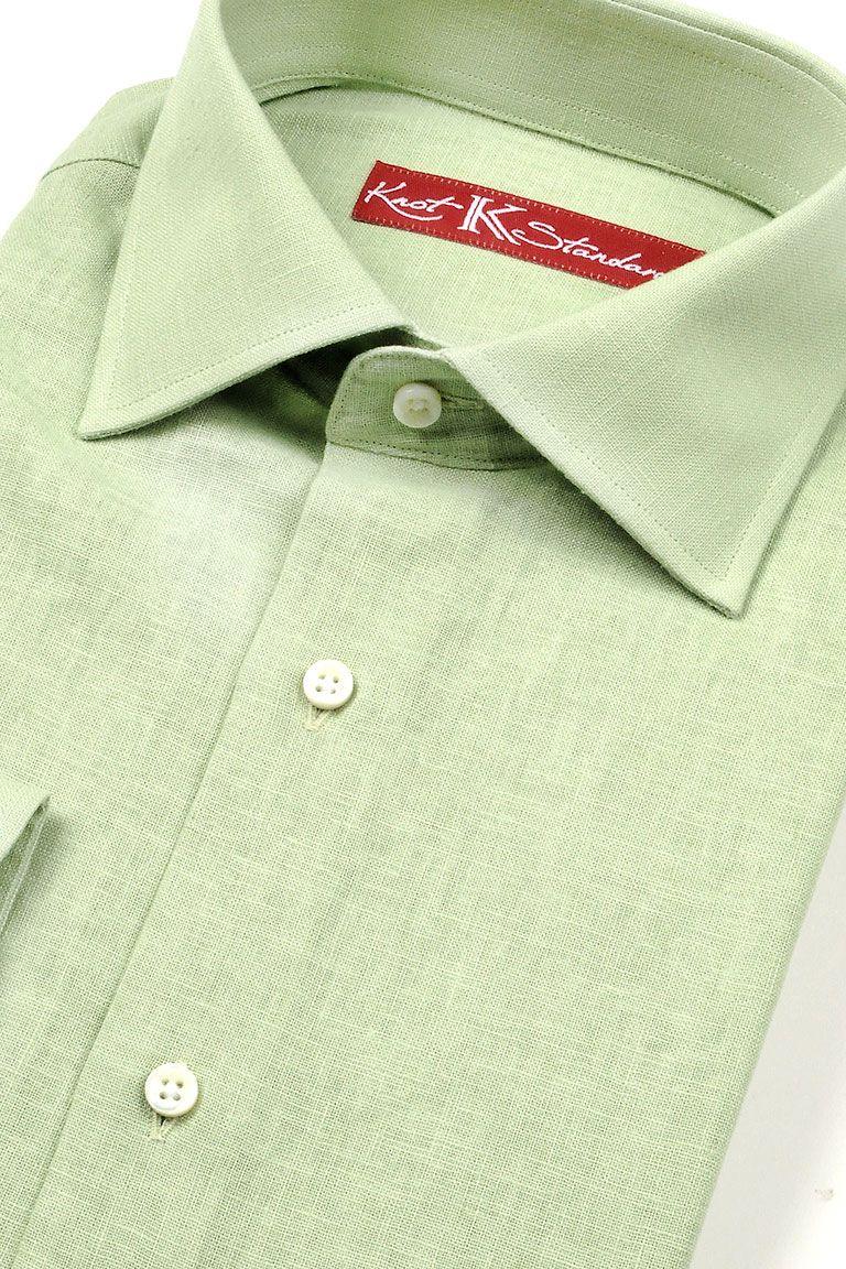 Green dress shirt mens Classic Lime Green Linen Shirt by Knot Standard  Menus Shirts