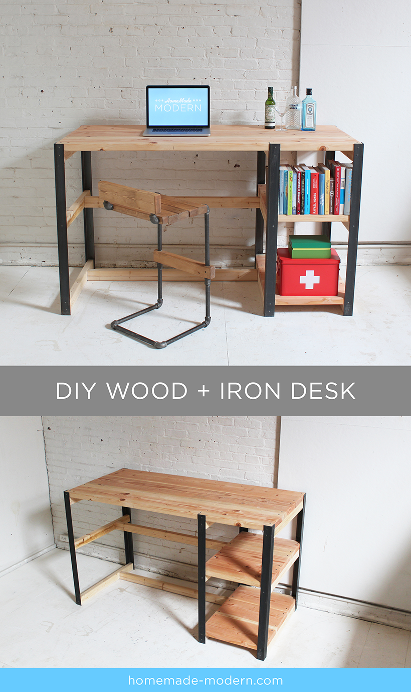 Full instructions for the DIY wood + iron desk are exclusively in the HomeMade Modern Book by Ben Uyeda. For a sneak peek of some of the projects, check out HomeMade-Modern.com.