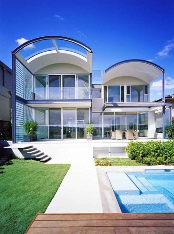 luxury beach house design curved roof with modern exterior decorating in sydney - Beach Home Design