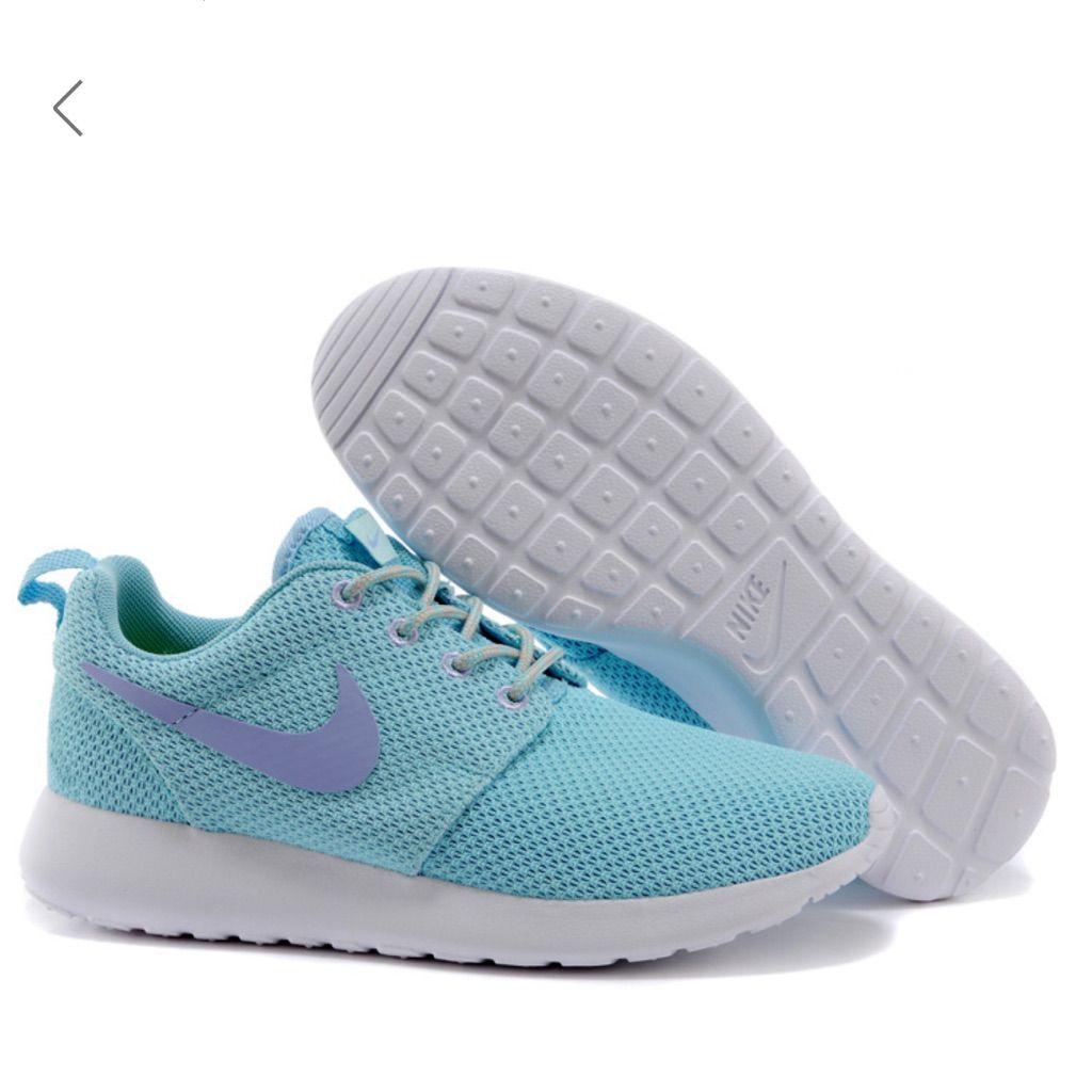 shoes, nike roshe run, glacier, purple shoes, light blue