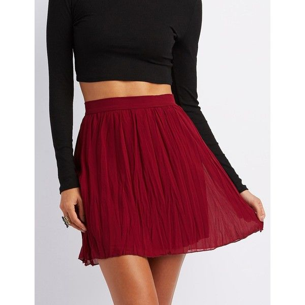 Charlotte Russe Pleated Chiffon Skater Skirt ($20) ❤ liked on Polyvore featuring skirts, wine, charlotte russe skirts, pleated circle skirt, flared skirt, flare skirt and zipper skirt