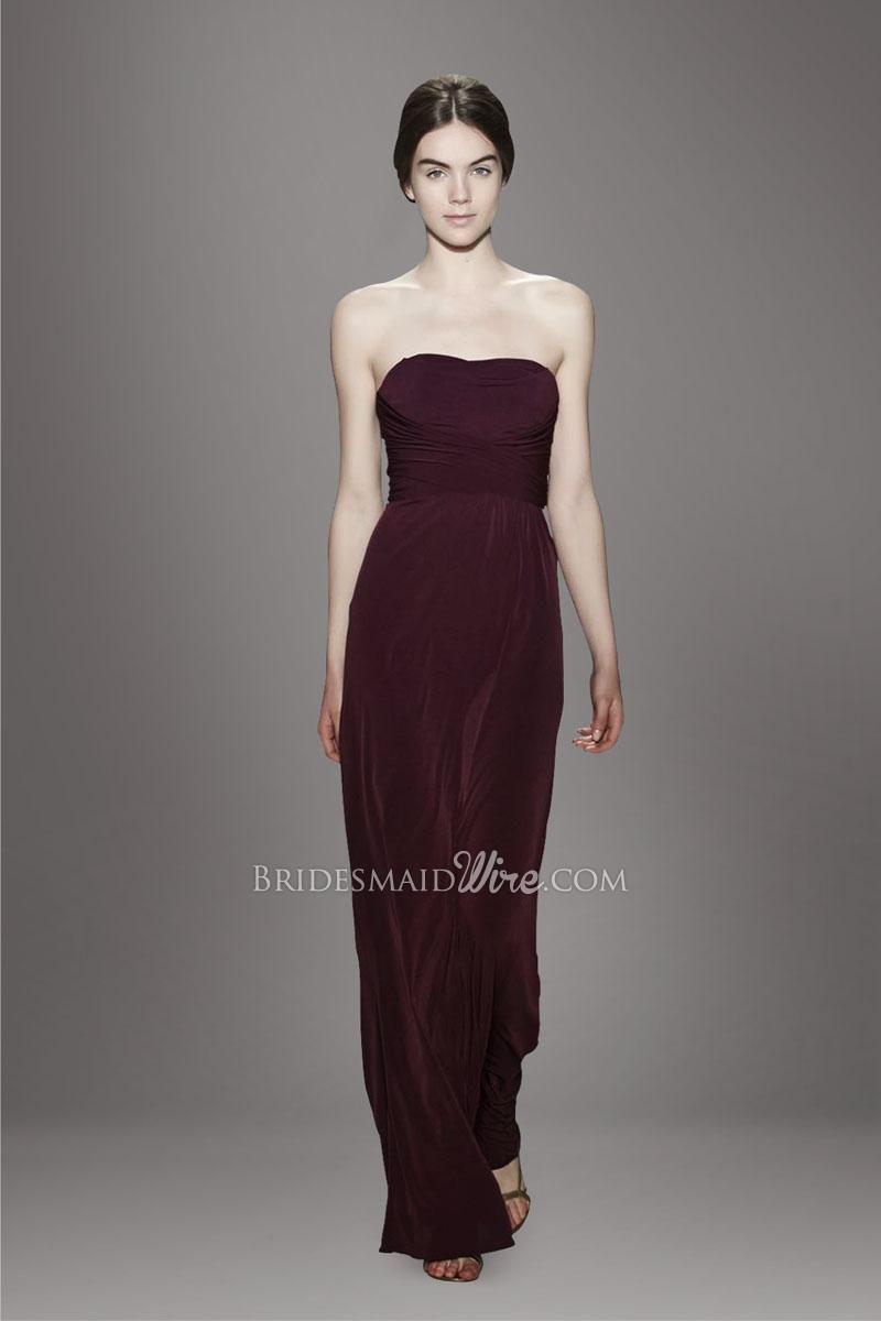 burgundy strapless straight across neckline ruched bodice floor ...