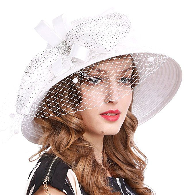 fa92f8806f9  19.87 Kentucky Derby Dress Church Cloche Hat Sweet Cute Floral Bucket Hat  (White) at Amazon Women s Clothing store