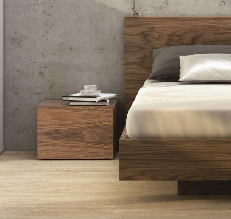 Temahome Walnut Veneer Float Bed In 3 Sizes Opt Bedside Cabinets