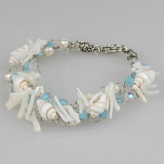 Teal chunky crochete wiring beach shell pearl bracelet Bridesmaids gifts Free US Shipping handmade Anni Designs, $12.95