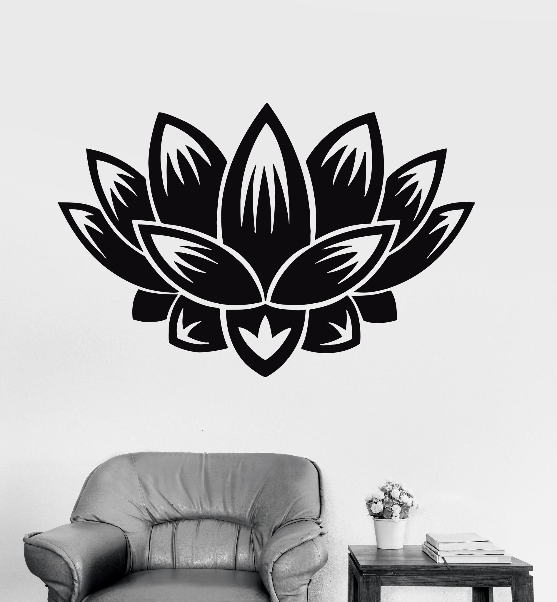 Vinyl Wall Decal Lotus Flower Buddhism Meditation Yoga Decor