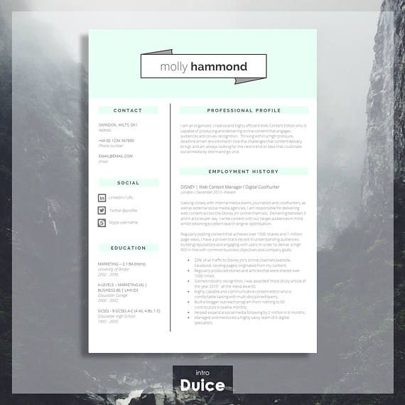 Creative Cv Template Matching Cover Letter Application  Porfalios
