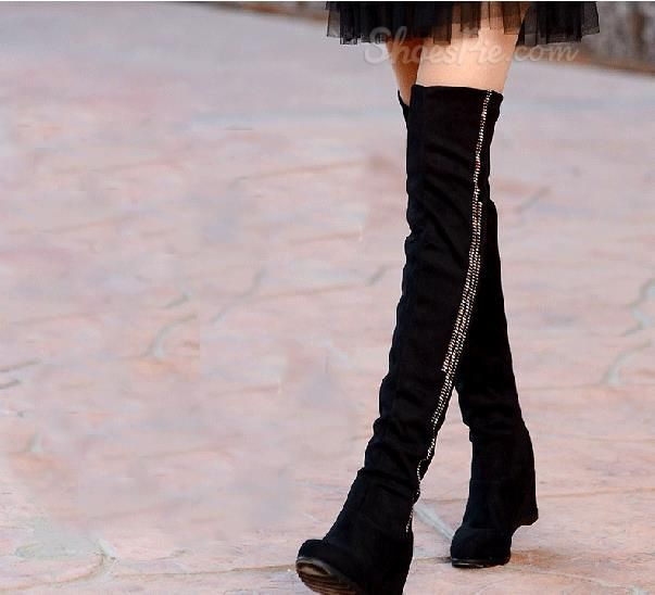 d4a22f03550 Cheap  Comfortable Black Suede Flat Heel Knee High  Boots. Yes!! Flats!!