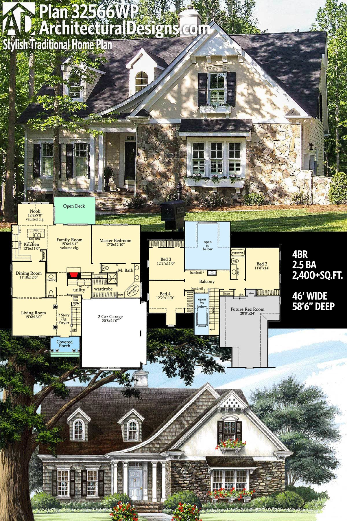 Plan 32566wp Stylish Traditional Home Plan New House Plans