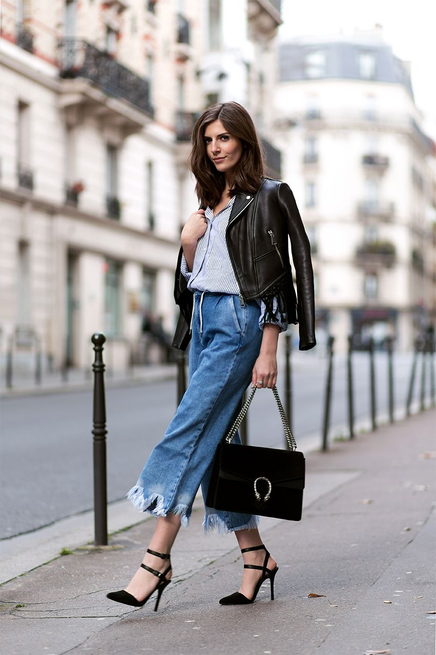 denim culottes and fringed leather jacket - simple et chic