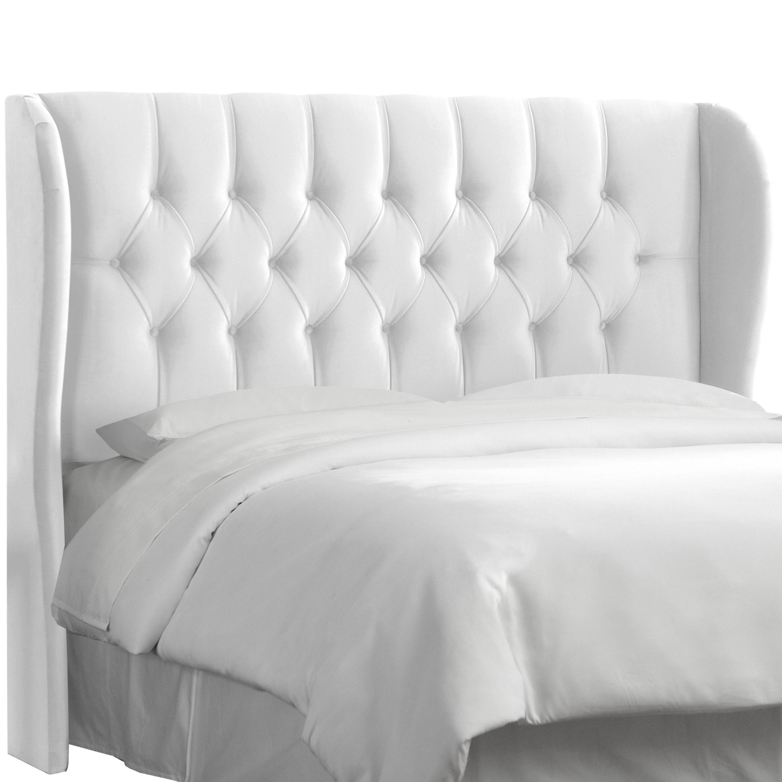 Skyline Furniture Tufted Wingback Headboard in Velvet White (Full ...