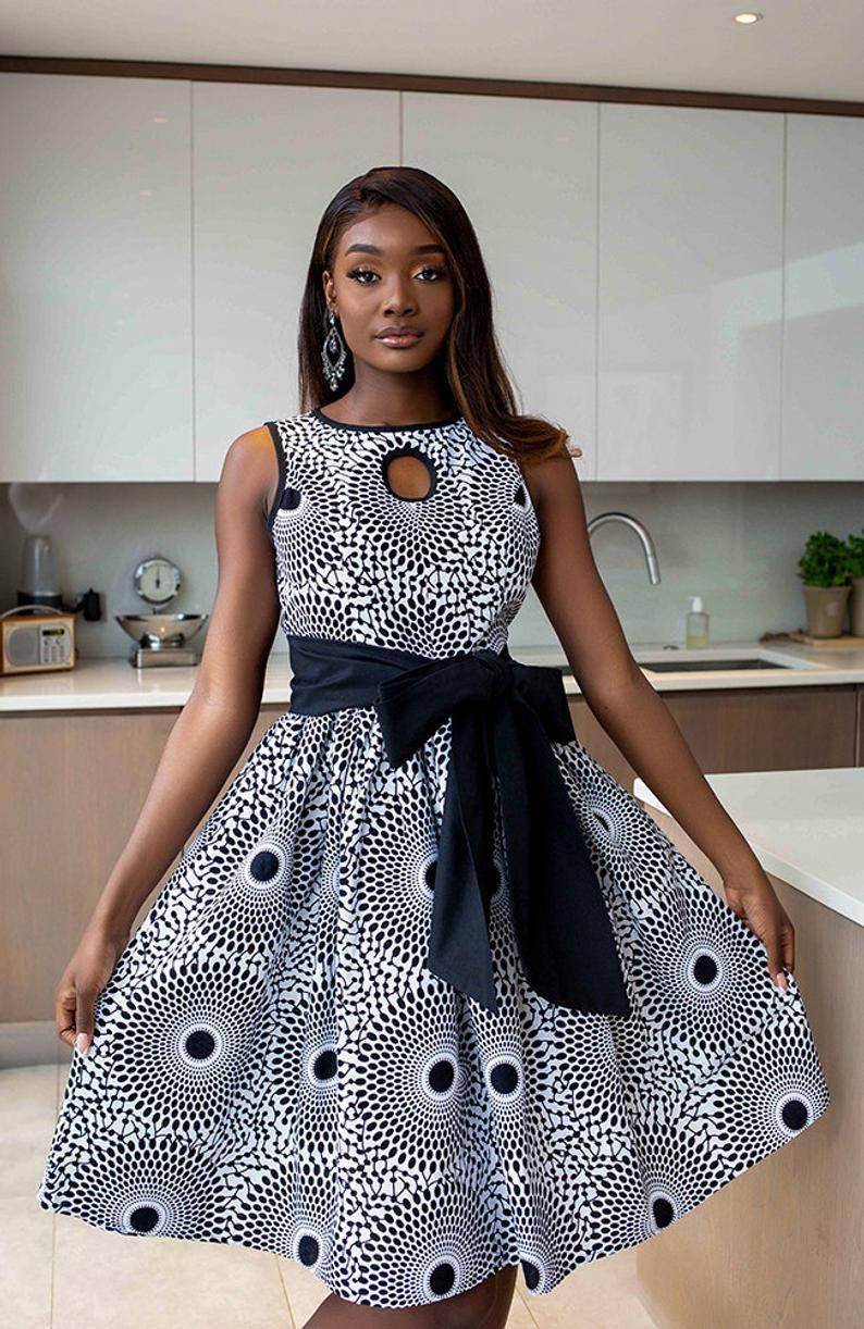 African midi dress, African Print Dress, Statement Belt, Elegant Dress, Key hole Dress, Online dress Women, African Women dress - ALEXANDRA