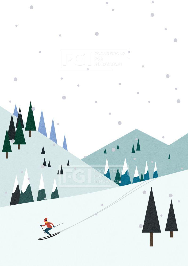 SPAI176, 프리진, 일러스트, 풍경, 겨울, 겨울풍경, 배경, 심플, 플랫 ...