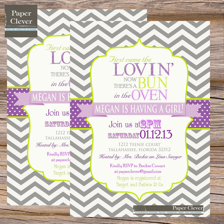 Baby Shower Invitations Purple S Invitation Bun In Oven Green