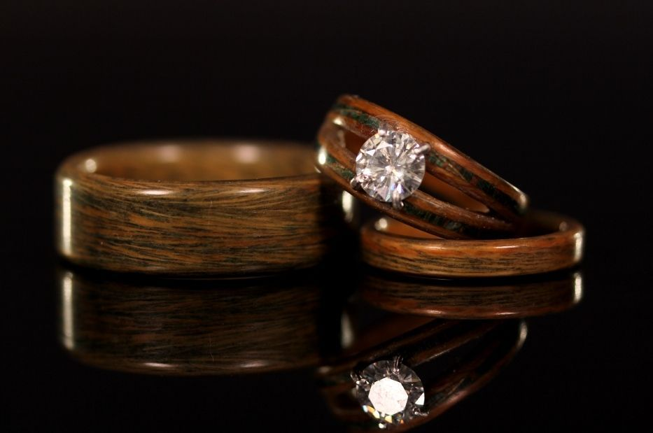 Wood Inlay Engagement Rings