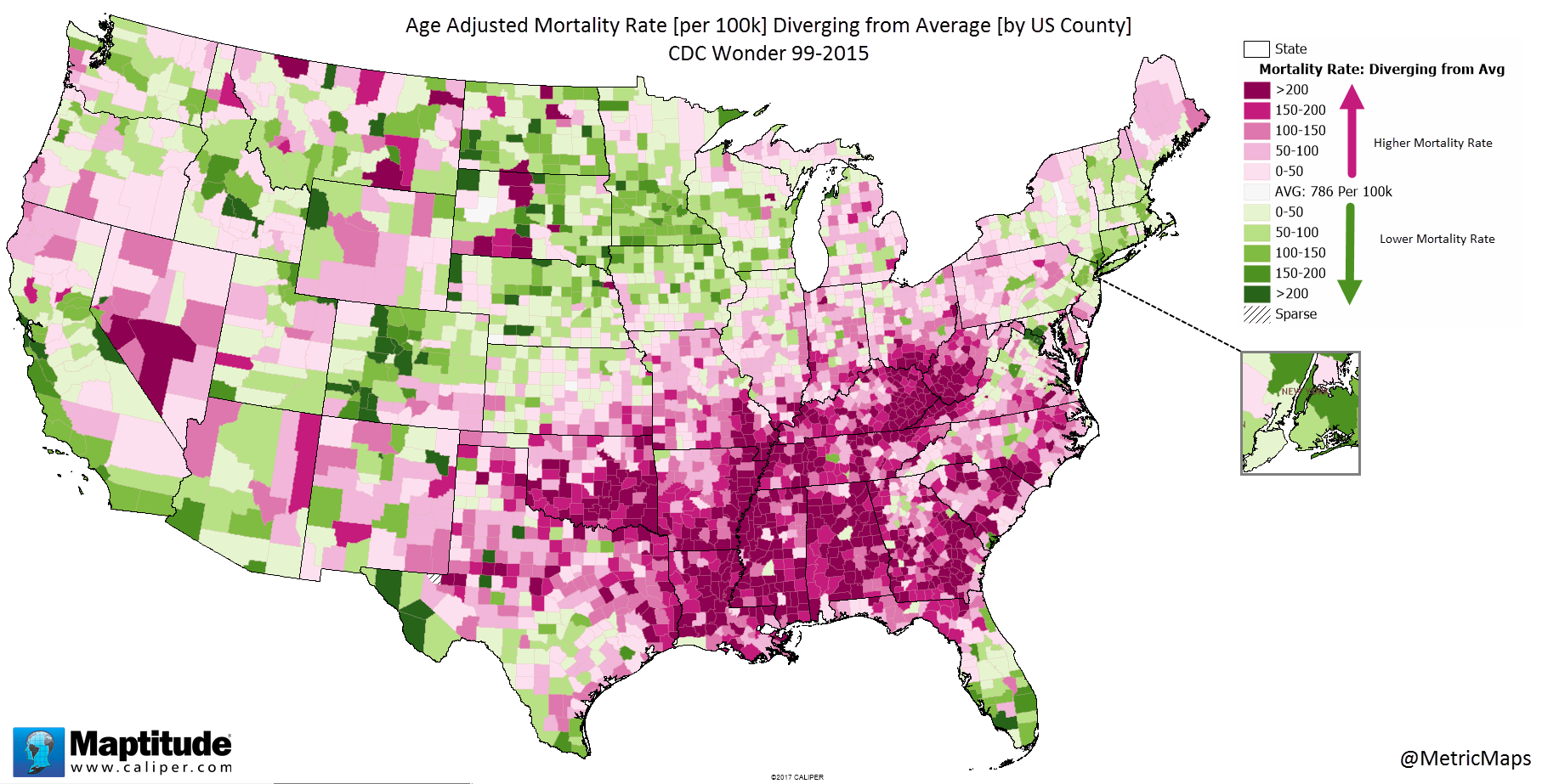 Age Adjusted Mortality Rate Diverging From Average By US County - Richest us counties per capita