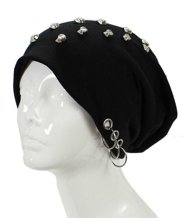 c7dee525eb7 Unisex Goth Skull Studs Grommet Silver Ring Accent Beanie Hat - GoGetGlam -  1