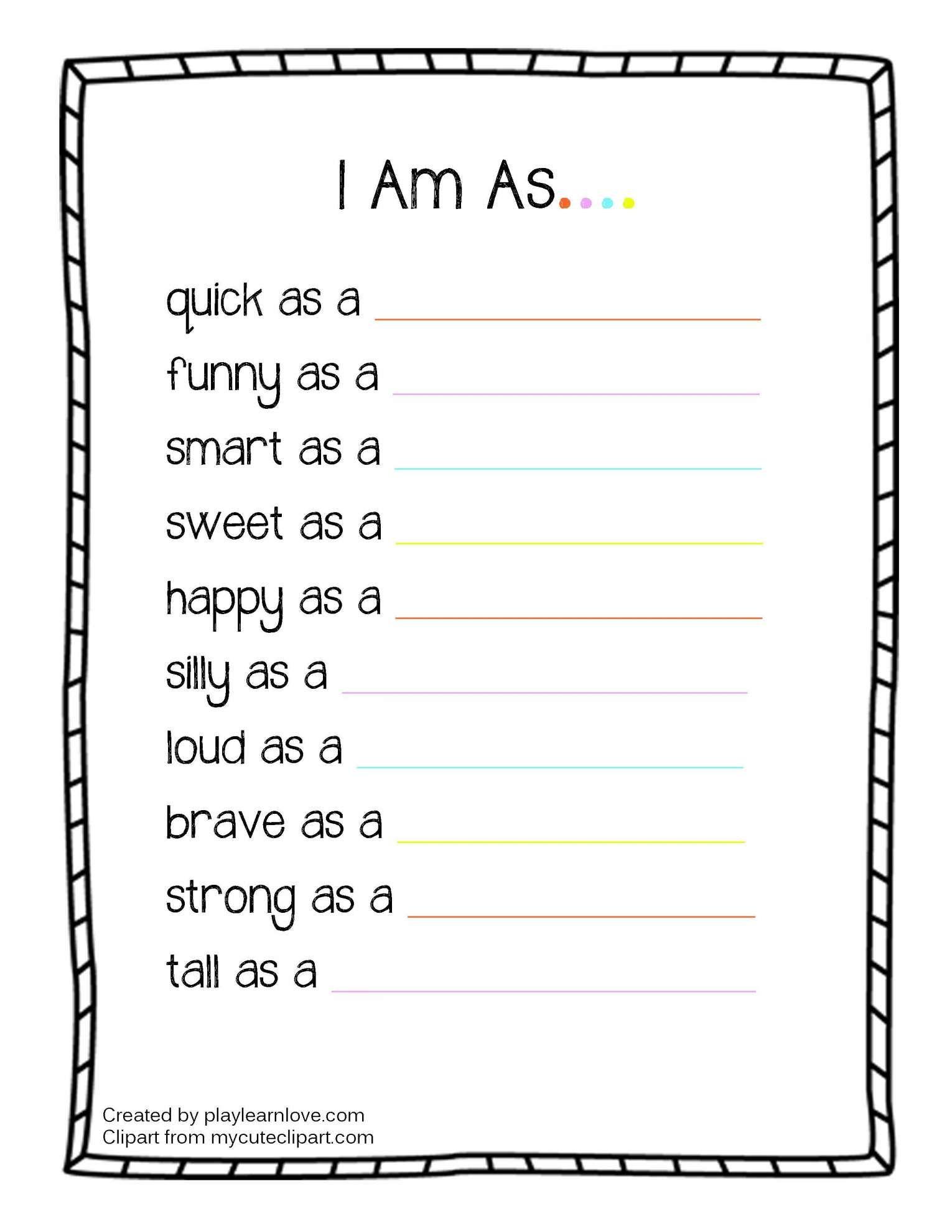 7 Who Am I Worksheet Preschool