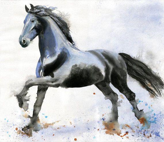Giclee PRINT Friesian Horse Morgan Painting Art Decor Watercolor Painting