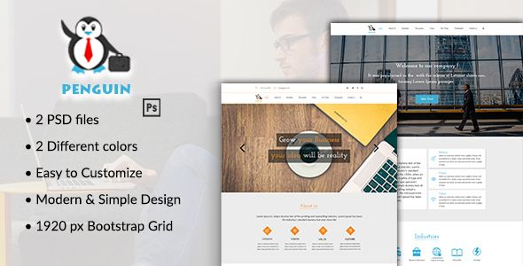 Penguin - PSD Template for Business Companies by Hyaak Penguin is a