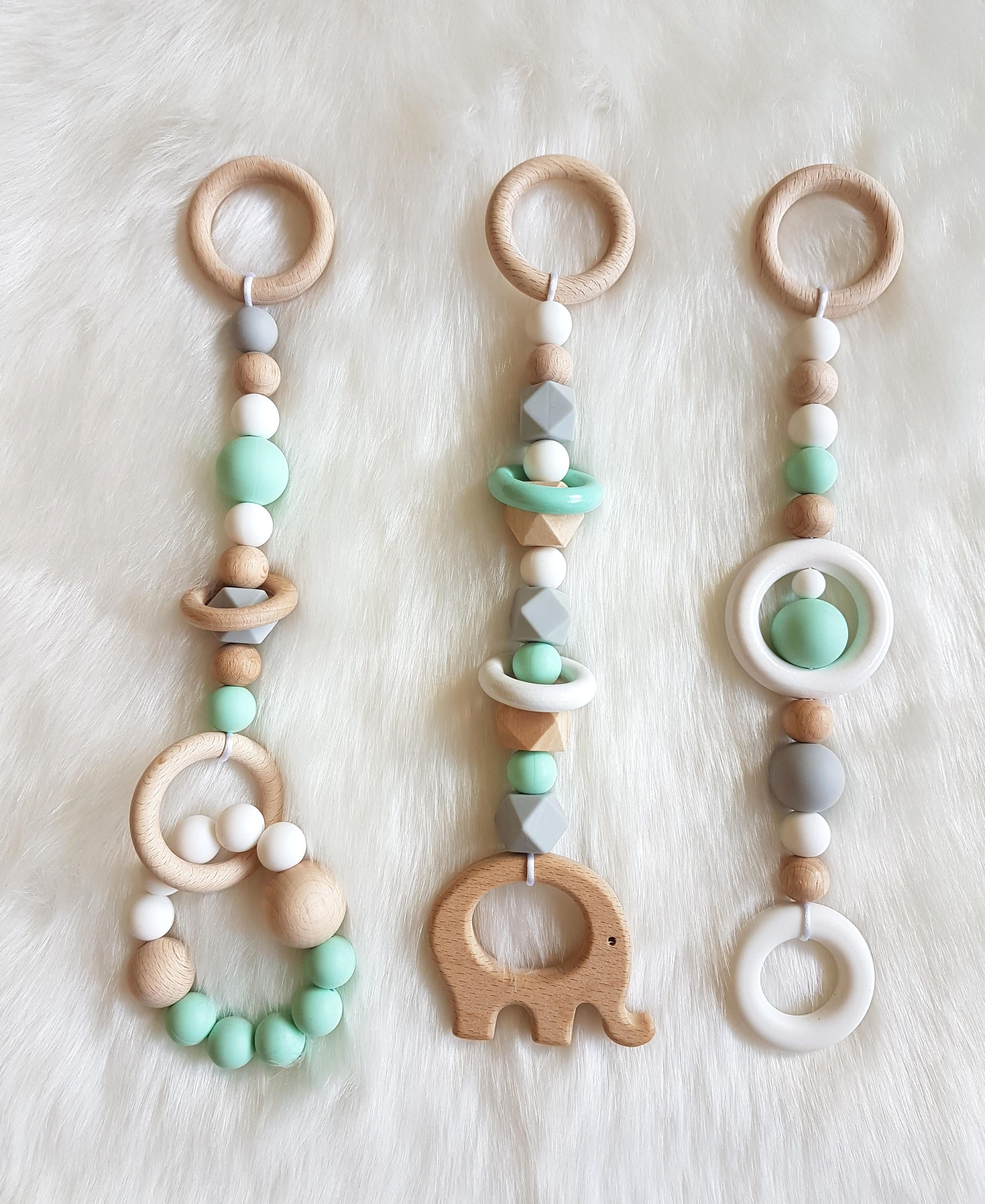 Baby Gym Toys, Mint Grey White, Baby Teethers, Chewable Beads,