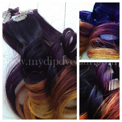 Ombre Sunset Sunrise Clip In Hair Extensions, Purple, Gold and Copper, | ombrehair - Accessories on ArtFire    NEED!!!