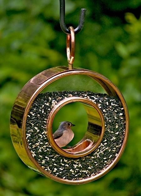 Modern Bird Feeders Attract Birds and Add Beautiful Yard Decorations to Backyard Designs - bronze bird feeder design